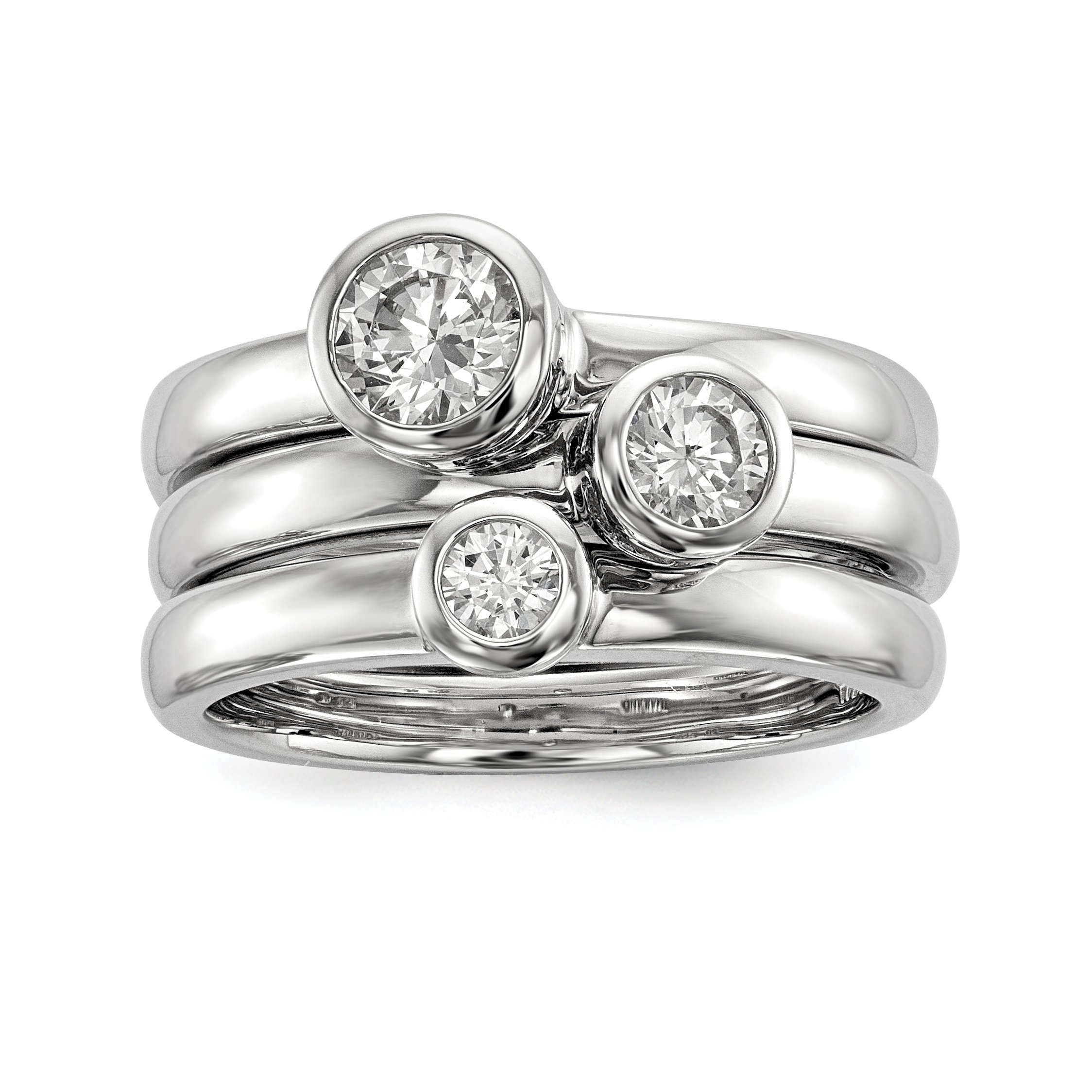ICE CARATS 925 Sterling Silver Set Of Three Stackable Cubic Zirconia Cz Band Rings Size 8.00 Ring Fine Jewelry Gift Set For Women Heart
