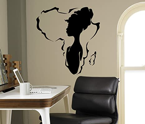African Woman Wall Vinyl Decal Africa Map Sticker Design Home Interior Art  Decor Ideas Bedroom Living Room Office Removable Housewares 7(afr)