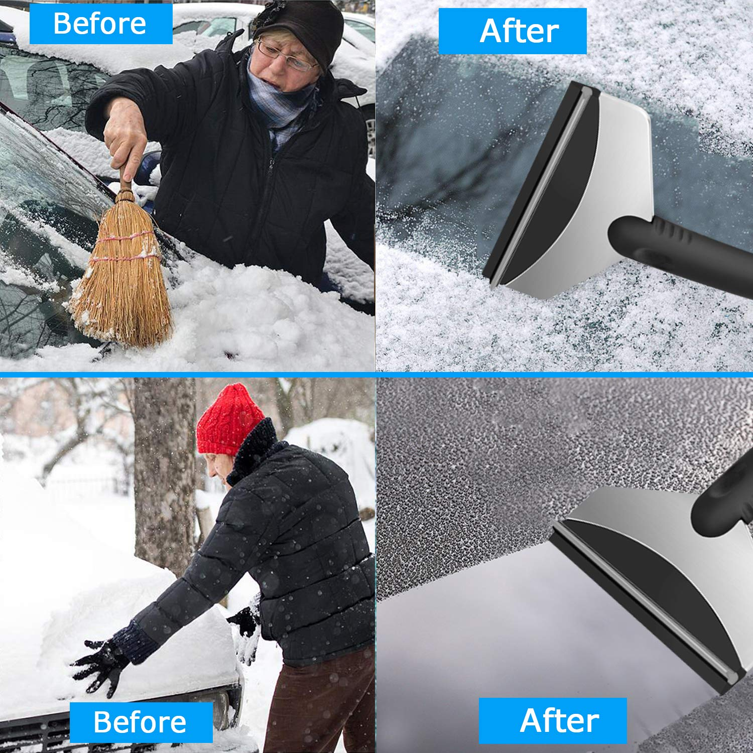 2 Pack TURN RAISE Snow Ice Scraper Heavy-Duty Frost and Snow Removal for Car Windshield and Window