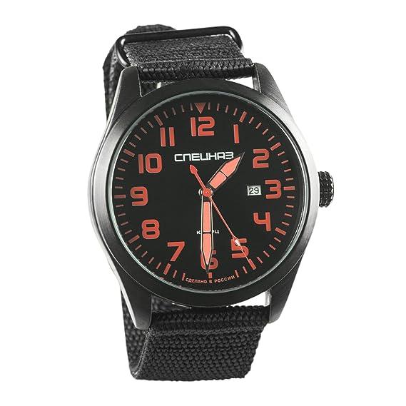 Slava Spetsnaz Fuerzas Especiales Ataque Ruso de cuarzo para hombres Reloj de pulsera rojo números: Amazon.es: Relojes