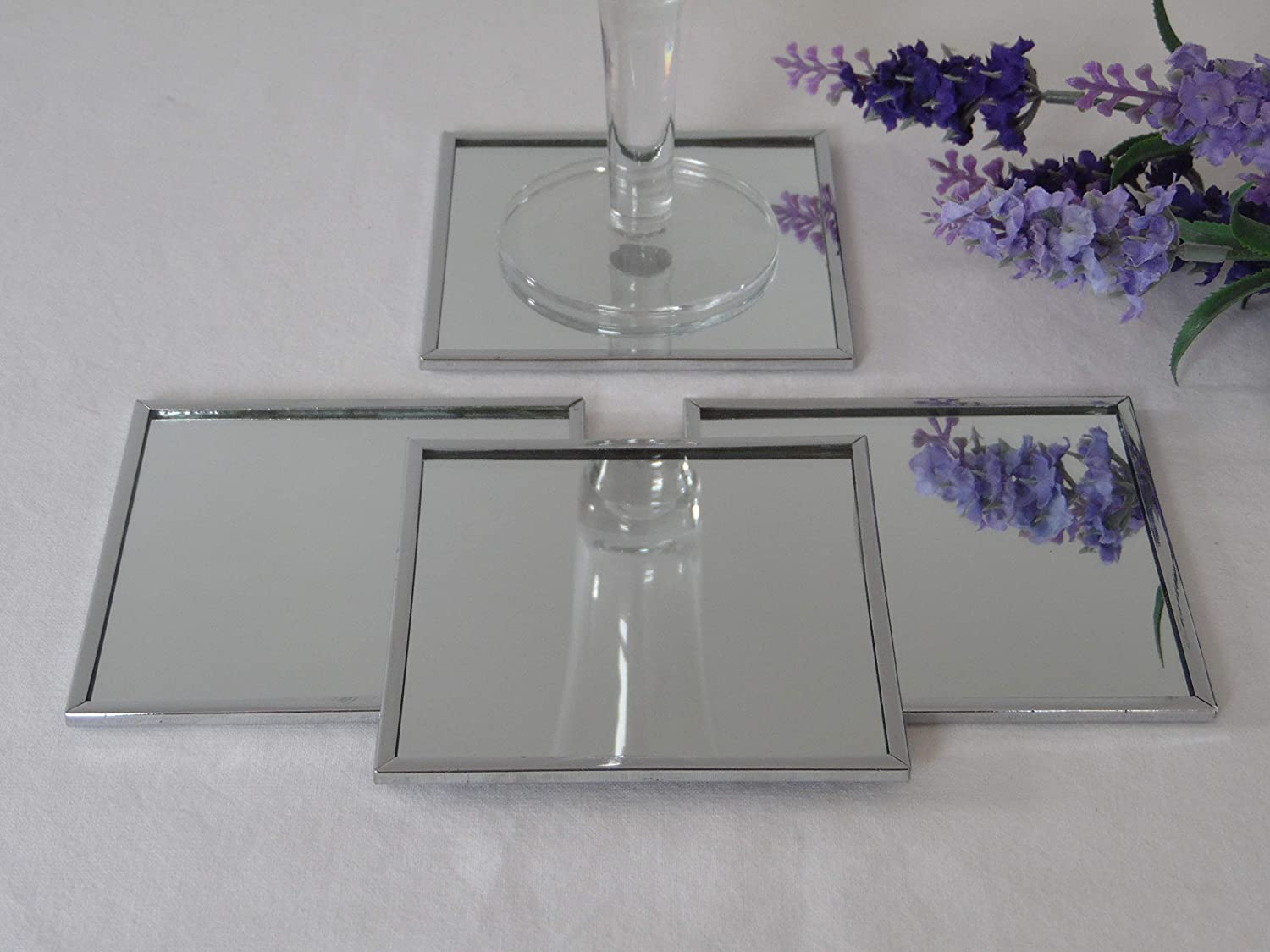 Set Of 4 Silver Square Mirrored Glass Coaster With Metal Edges Amazon Co Uk Kitchen Home