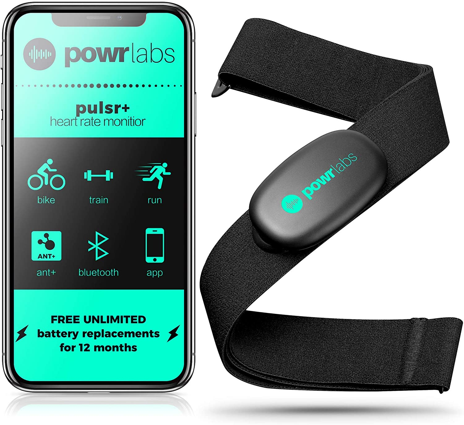 Powr Labs Heart Rate Monitor Chest Strap - ANT + Bluetooth Chest Heart Rate Monitor