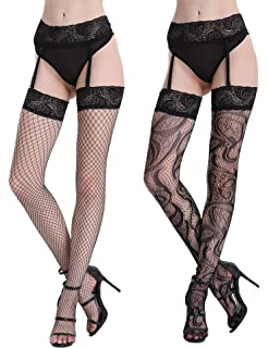f7bd17ef372 Joyaria Womens Sexy Lace Patterned Tights Fishnet Floral Stockings Pattern  Pantyhose 4 Pack