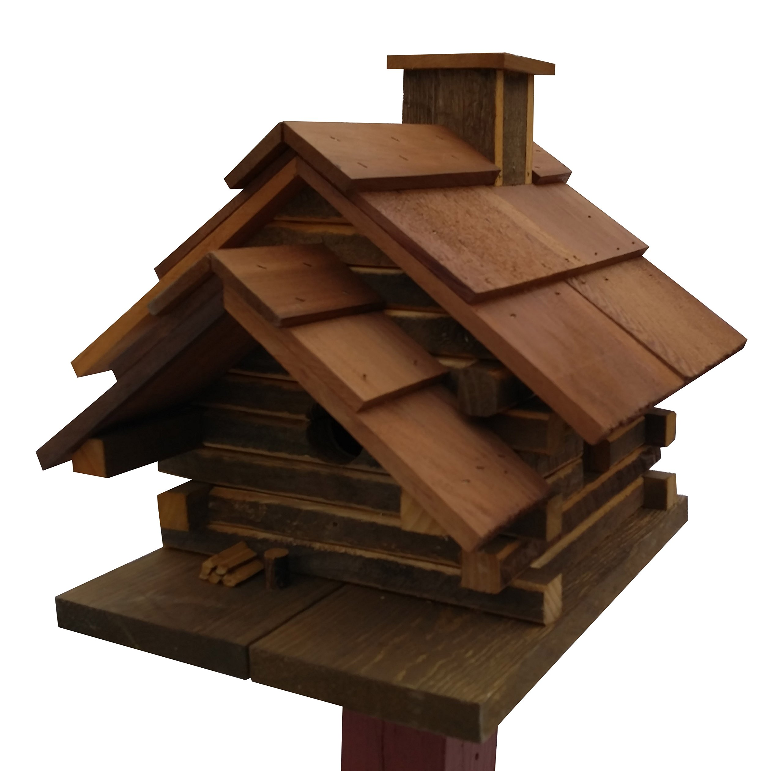 Home Bazaar Conestoga Log Cabin Birdhouse. Medium, Natural Cedar