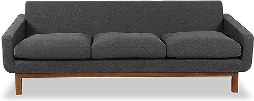 Kardiel Platform Mid-Century Modern Classic Sofa, Shale Vintage Twill, Walnut Wood