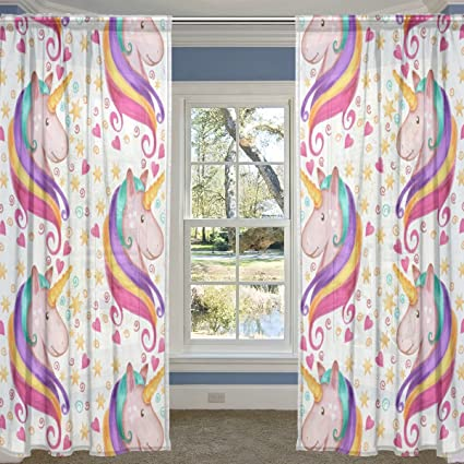 Amazon Com Alirea Unicorn Sheer Curtain Panels Tulle Polyester