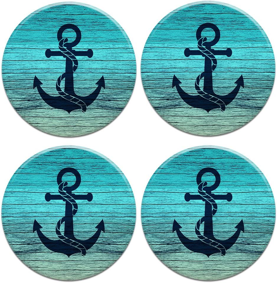 CARIBOU Coasters CARIBOU ROUND Ceramic Stone 4pcs Set, Mug Coffee Cup Place Mat Home Coasters for Hot & Cold Drinks, Blue Anchor Wood, One Size
