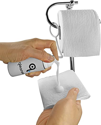 Amazon.com: Qleanse Toilet Paper Foam Spray and Caddy Combo - Wet Wipe  Alternative and 100% Flushable: Health & Personal Care