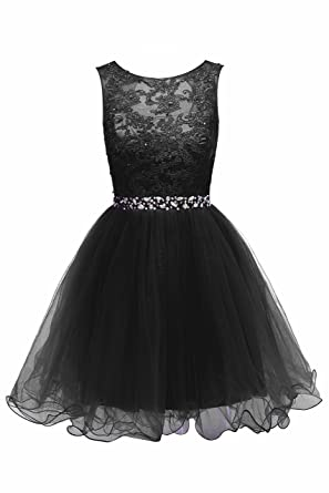 HEIMO Womens Lace Beaded Homecoming Dresses Short Sequined Appliques Prom Gowns H122 0 Black