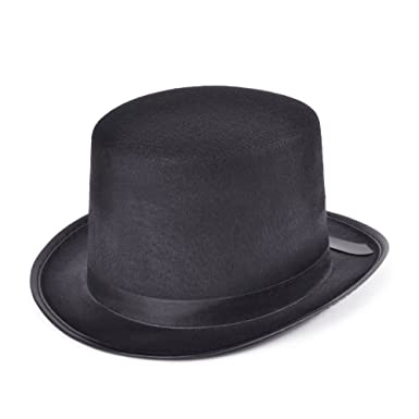 Mens Black Top Hat Victorian Edwardian Fancy Dress Costume Accessory