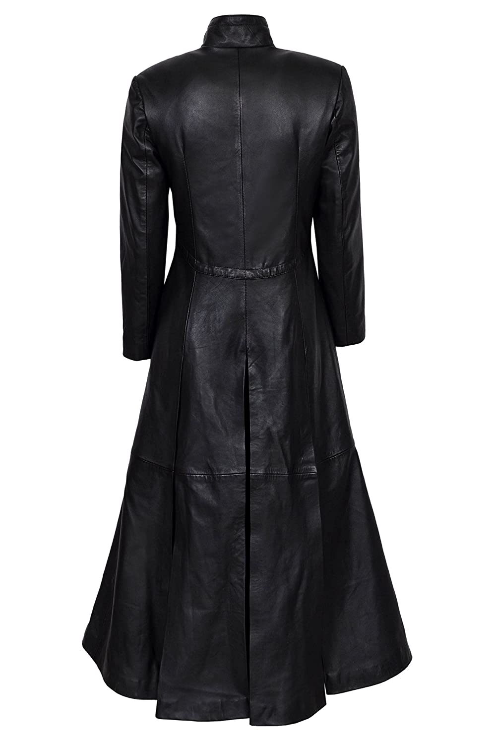 Ladies New Matrix Black Soft Leather Full-Length Long Gothic Coat Rock Jacket at Amazon Womens Coats Shop