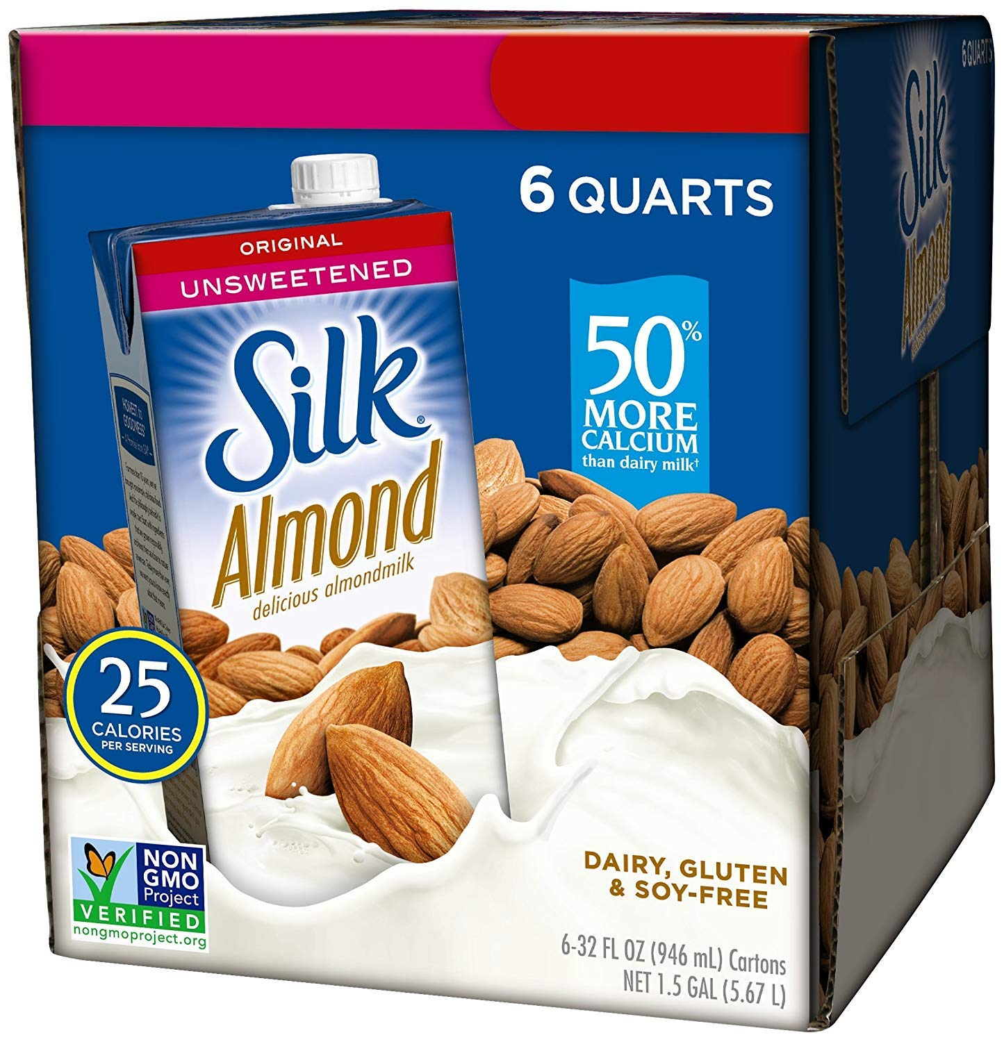 Silk Almond Milk Unsweetened Original 32 oz (Pack of 6) Shelf Stable, Unsweetened, Unflavored Dairy-Alternative Milk, Organic, Individually Packaged (2 Boxes(Pack of 6))