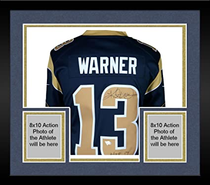new style f9386 6ac8c Framed Kurt Warner St. Louis Rams Autographed Blue Nike ...