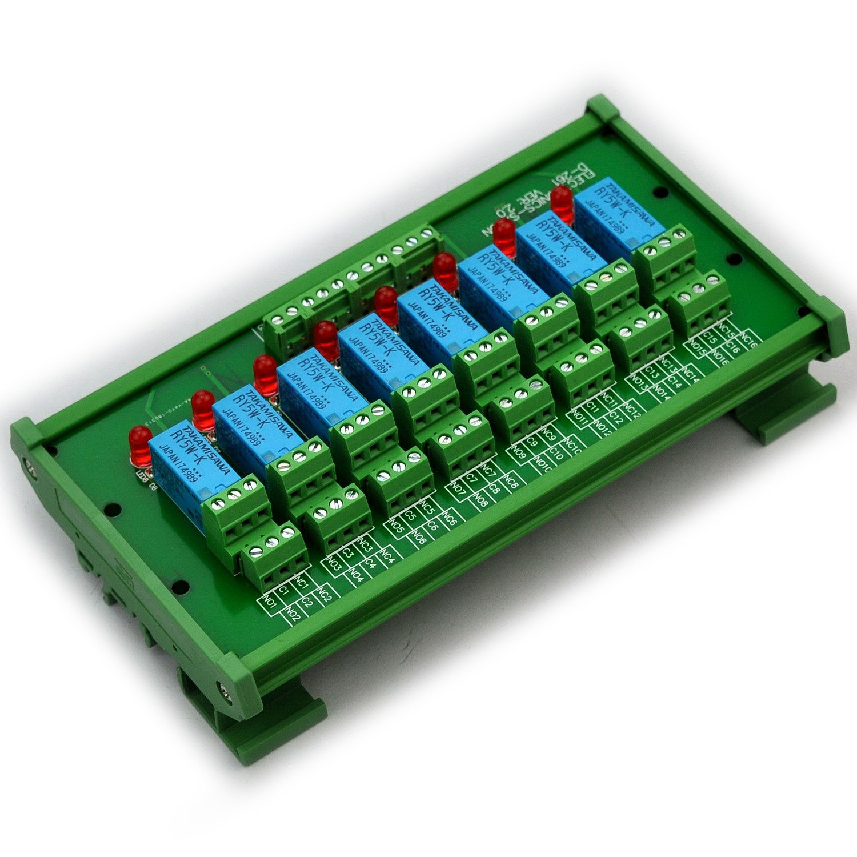 Electronics-Salon DIN Rail Mount 8 DPDT Signal Relay Interface Module. (Operating Voltage: DC 5V)