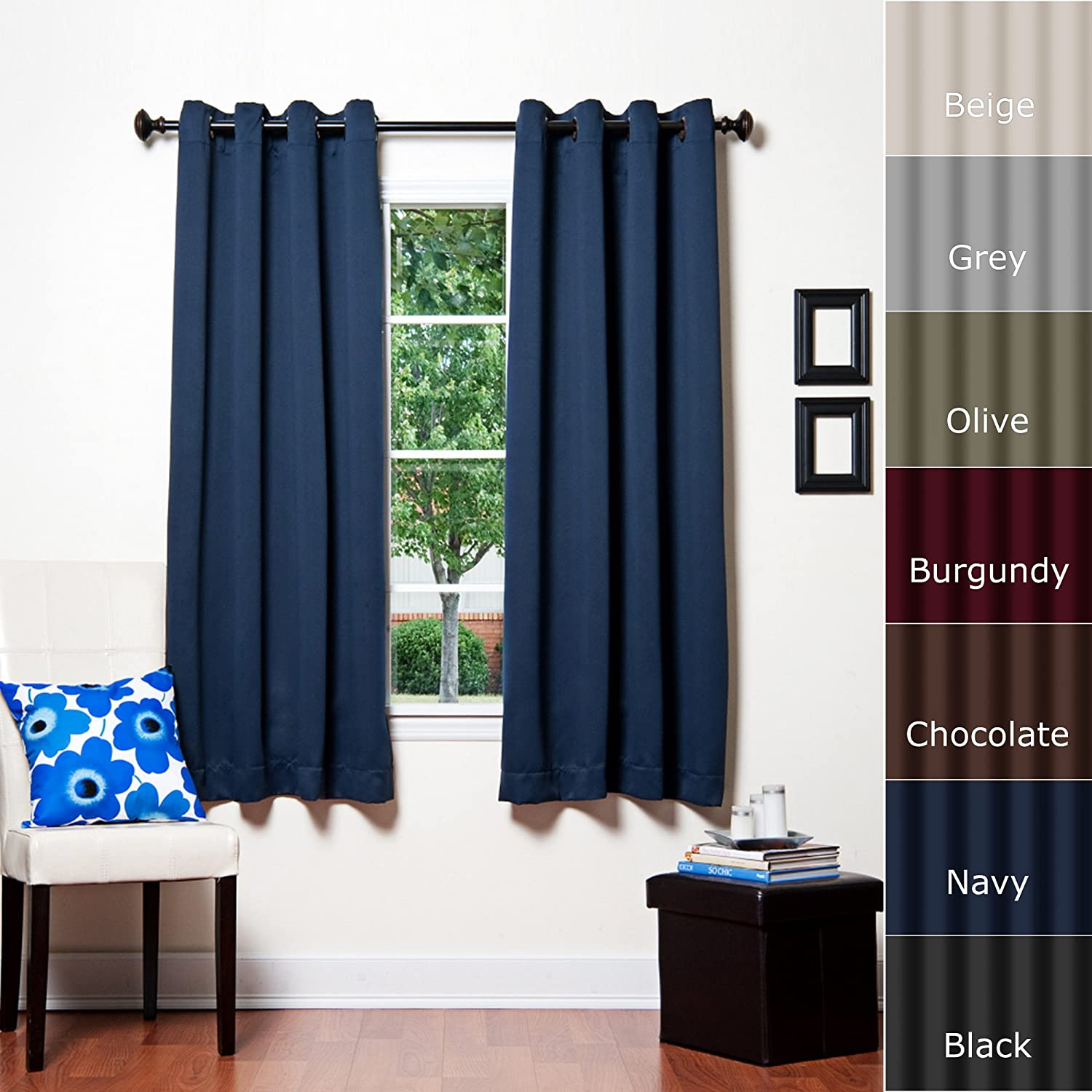 Best Home Fashion Basic Thermal Insulated Blackout Curtains - Antique Bronze Grommet Top - Navy