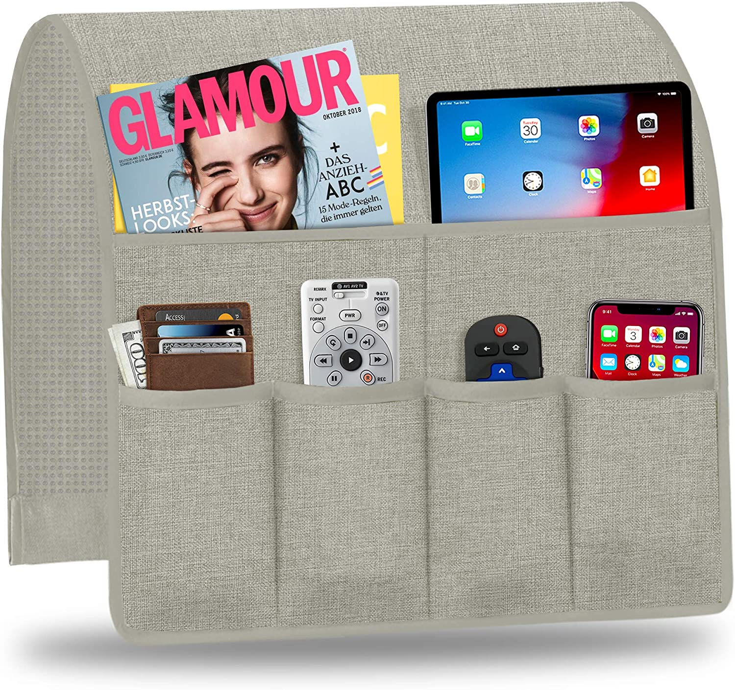 Naturoom Sofa Armrest Organizer, Non-Slip Couch Caddy Armchair Arm Chair Caddy with 6 Pockets Armchair Caddy forSmart Phone, Book, Magazines, Ipad, TV Remote Control Holder (19'' x 35'', Silver Grey)