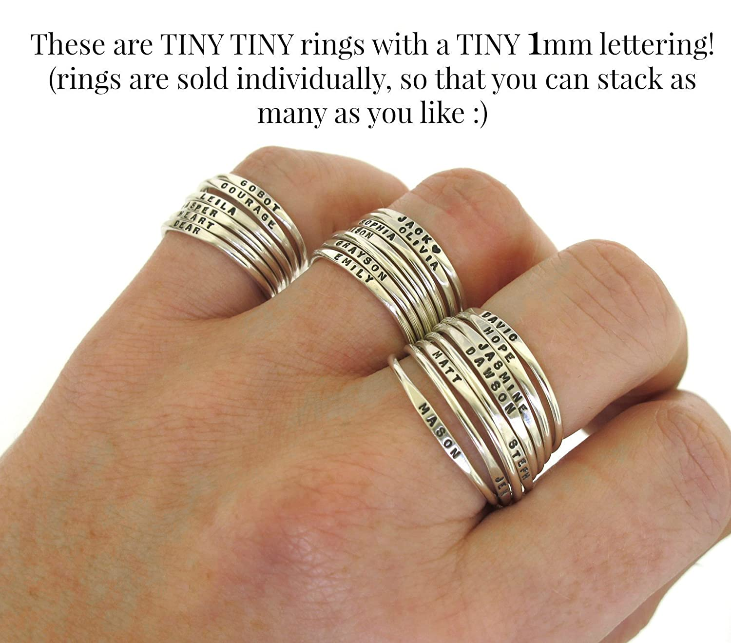 Amazon.com: Tiny Stacking Rings, personalized band with your custom ...