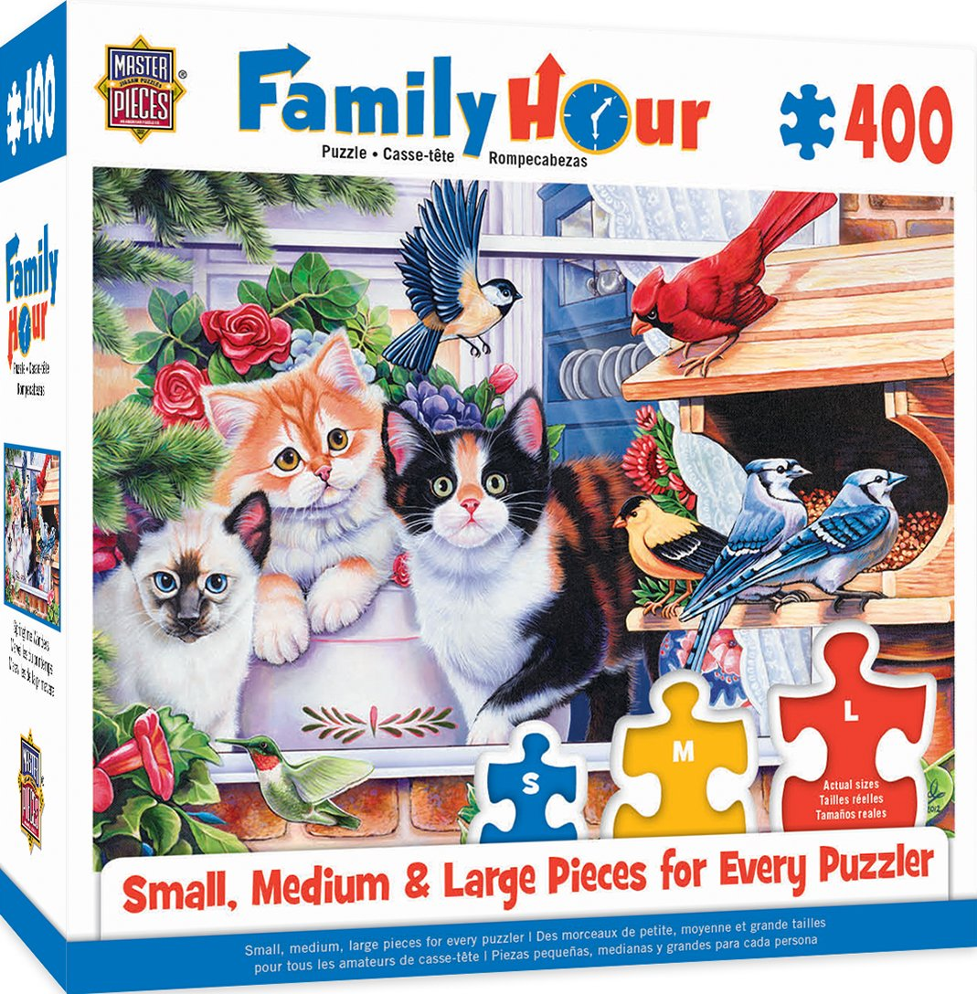 Amazon.com: MasterPieces Family Hour Springtime Wonders Cats & Birds Jigsaw Puzzle, 400-Piece: Toys & Games