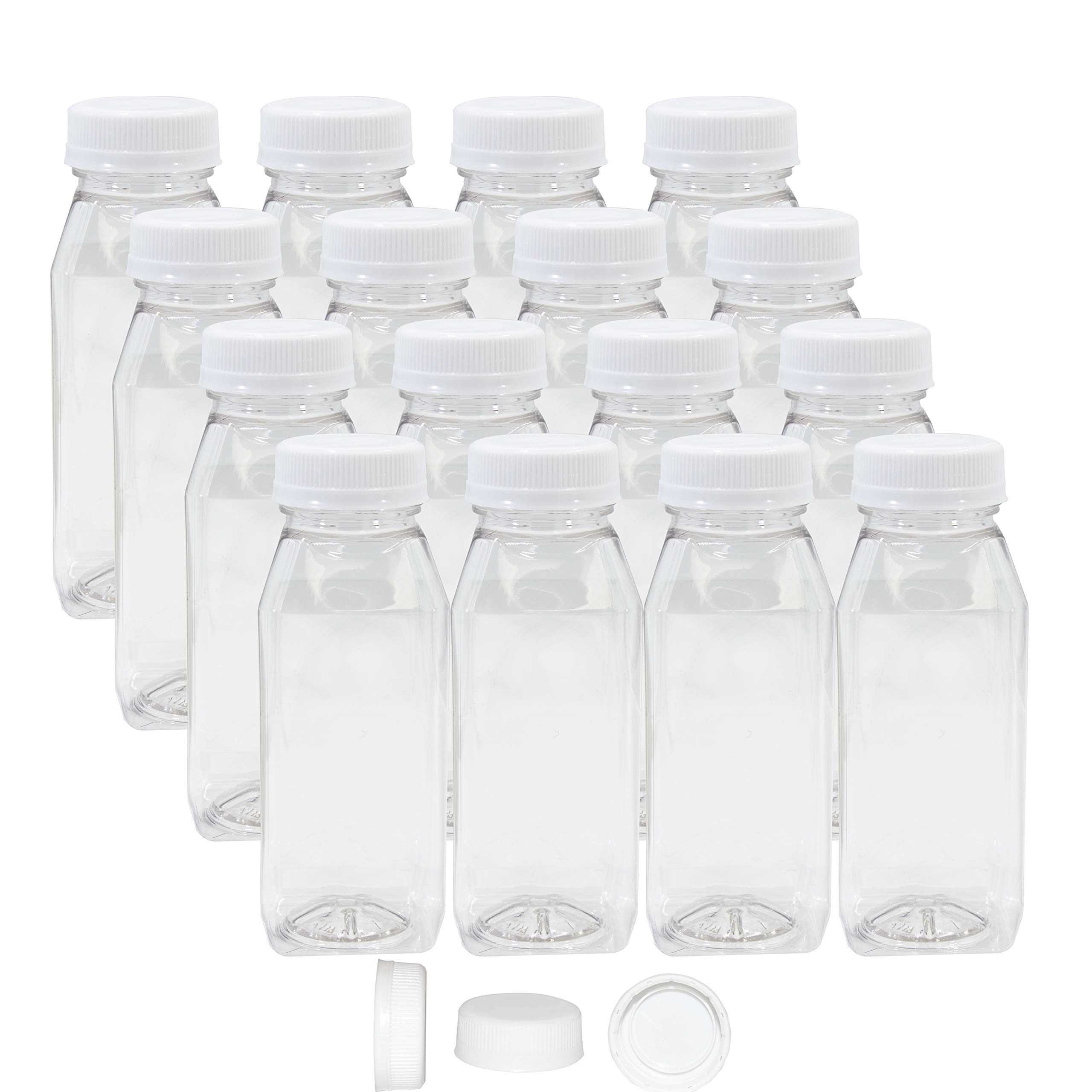 Pack of 48 Empty PET Plastic Juice Bottles - 8 oz Reusable Clear Disposable Milk Bulk Containers with White Tamper Evident Caps by Upper Midland Products (Image #1)