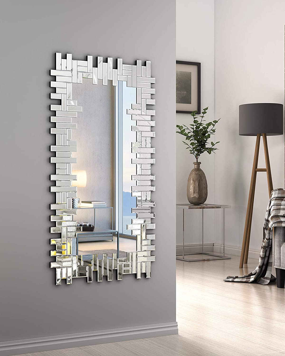 Kohros Art Decorative Wall Mirrors Large Grecian Venetian Mirror For Hotel Home Vanity Sliver Mirror W 24 8 X H 47 3 Rectangle Home Kitchen