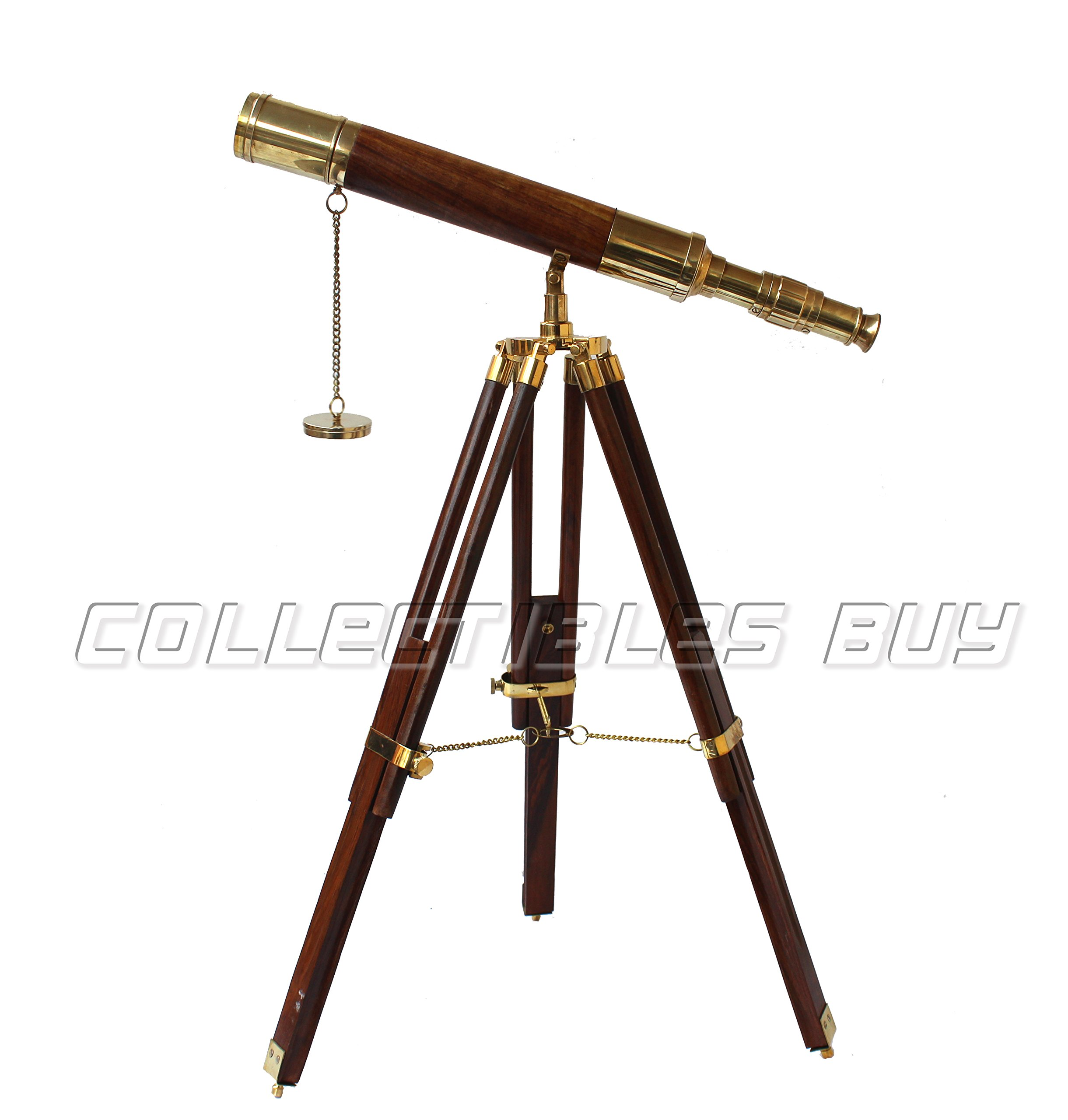 Collectibles Buy Vintage Table Decorative Shiny Brass Tube Telescope with Antique Wooden Tripod High Magnification Sailor Article