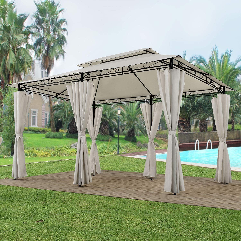 ArtLife - Pabellón Ponza 3 x 4 m en 2 Colores, Incluye 6 Paredes Laterales con Cremallera e iluminación LED, Beige: Amazon.es: Jardín