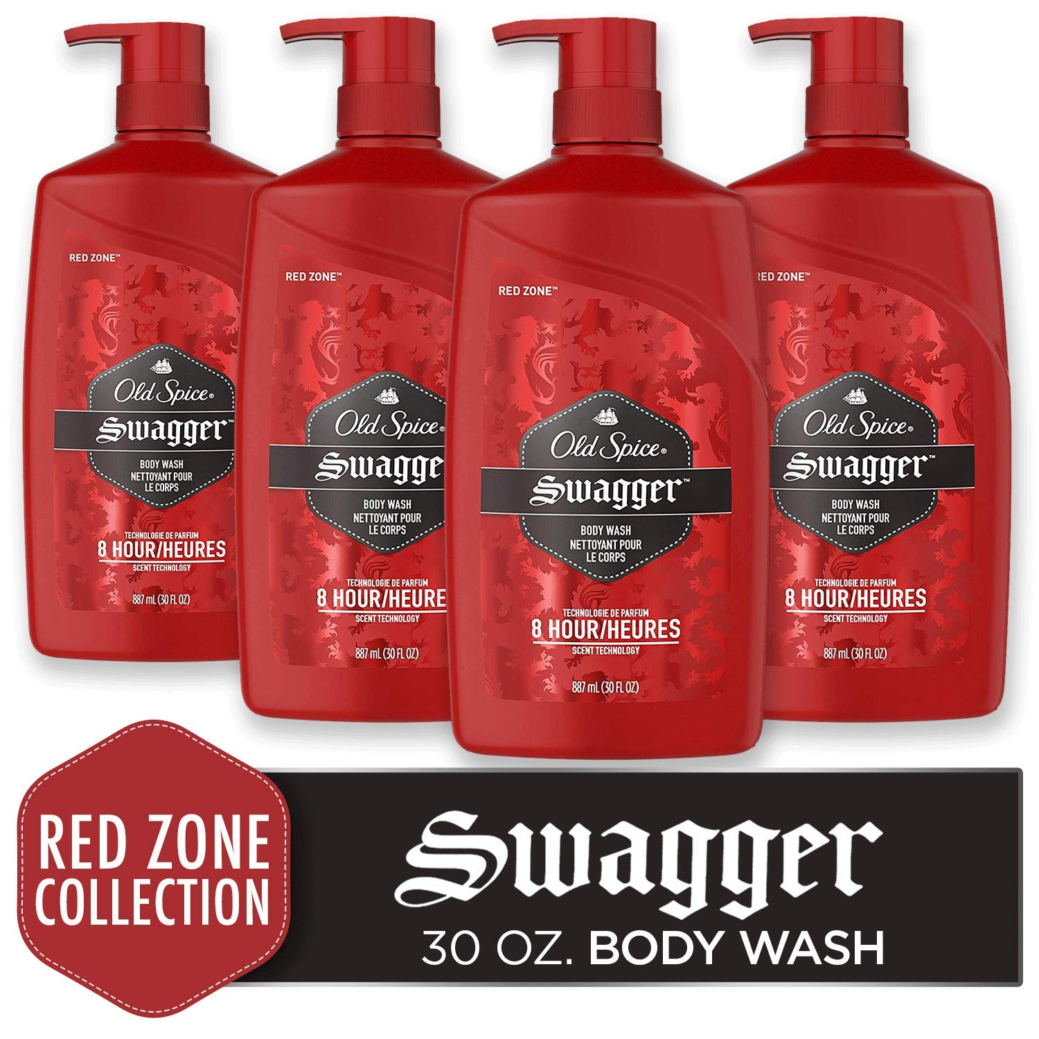 Old Spice Red Zone Swagger Scent Body Wash for Men, 30 Ounce (Pack of 4)