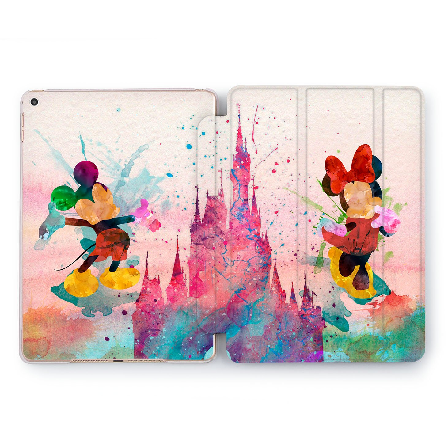 Wonder Wild Hard Shell Case iPad Mini 1 2 3 4 Air 2 Watercolor Tablet Cover Pro 10.5 12.9 2018 2017 9.7 inch 5th 6th Generation Cartoon Walt Disney Mickey Minne Mouse Fairy Tale Magic Design Colorful