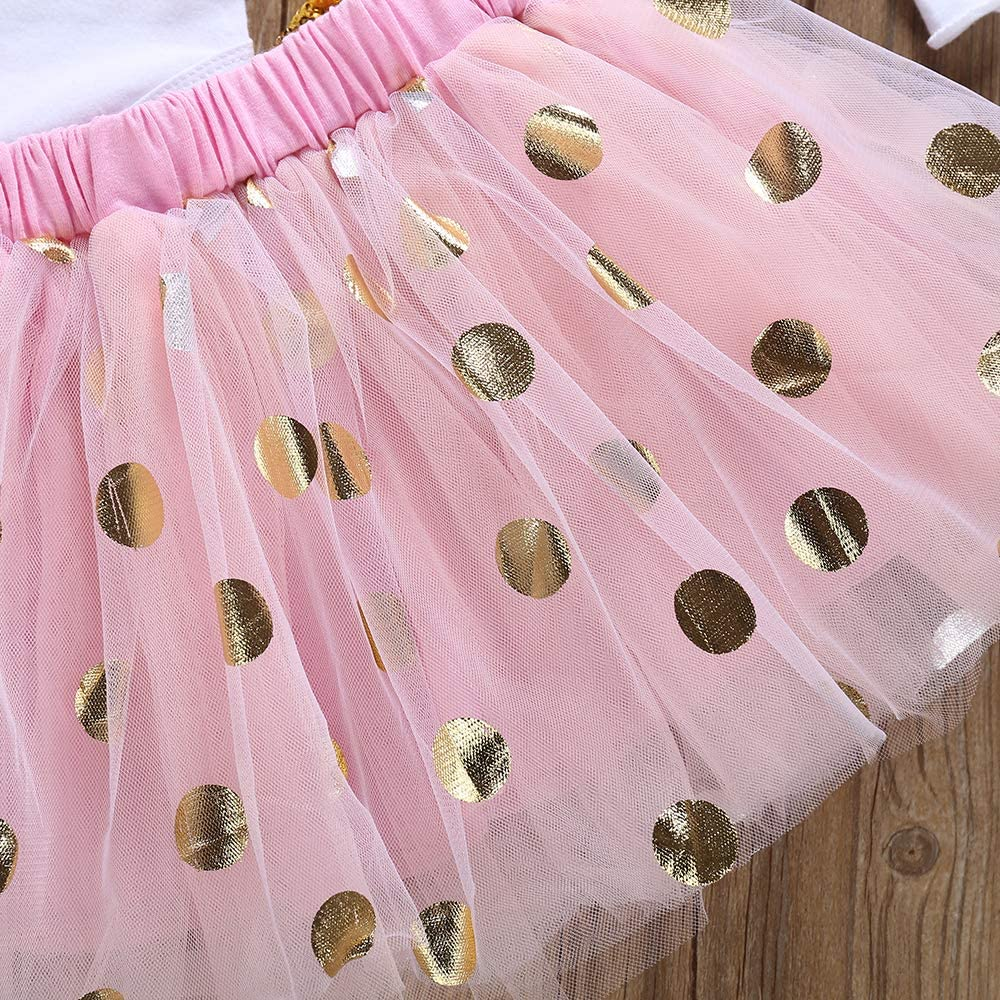 Baby Girl Short Sleeved Romper Sequin Bow Polka Dot Bubble Skirt Headband Leg Set 4Pcs