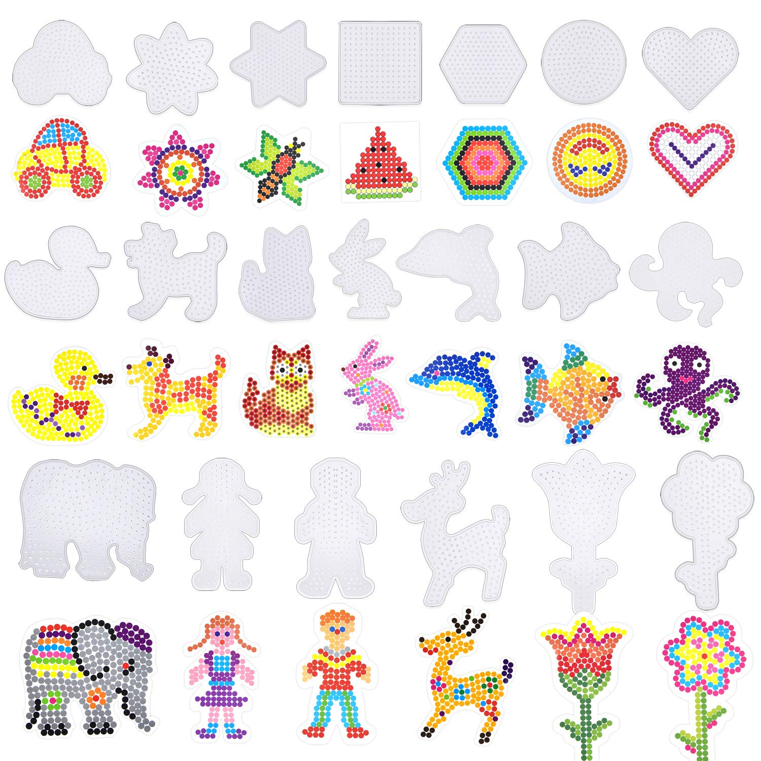 Coopay 20 Pieces Fuse Beads Pegboards Clear Plastic Template Beads Boards Different Shapes with 20 Pieces Colorful Cards for Kids Craft Supplies by Coopay