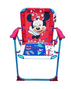 Takestop® - Disney - Silla plegable de Minnie Mouse, fucsia y azul, infantil, ideal para camping, dormitorio, playa o jardín, de metal y plástico, con ...