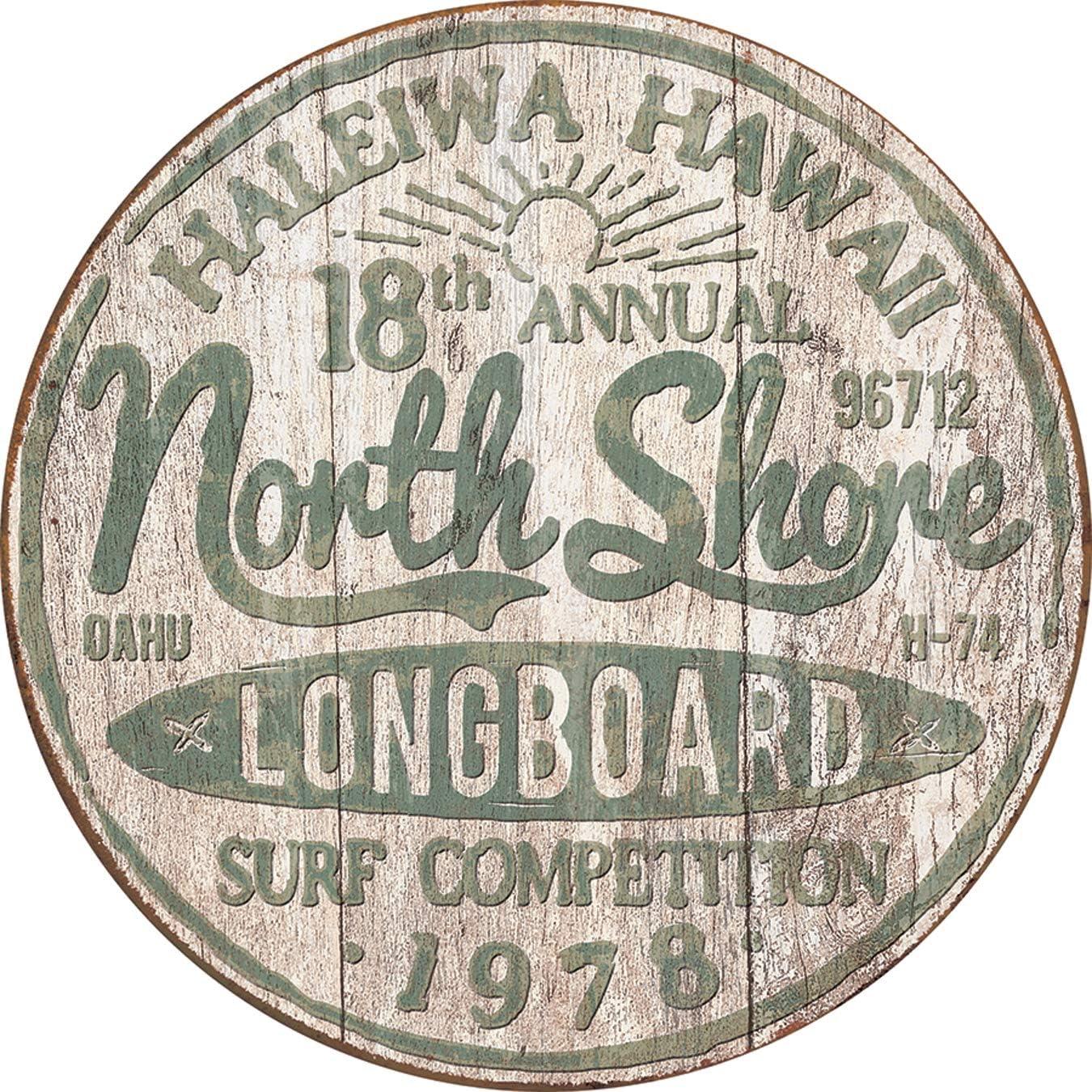 """Desperate Enterprises North Shore Surf Tin Sign, 11.75"""" Diameter"""
