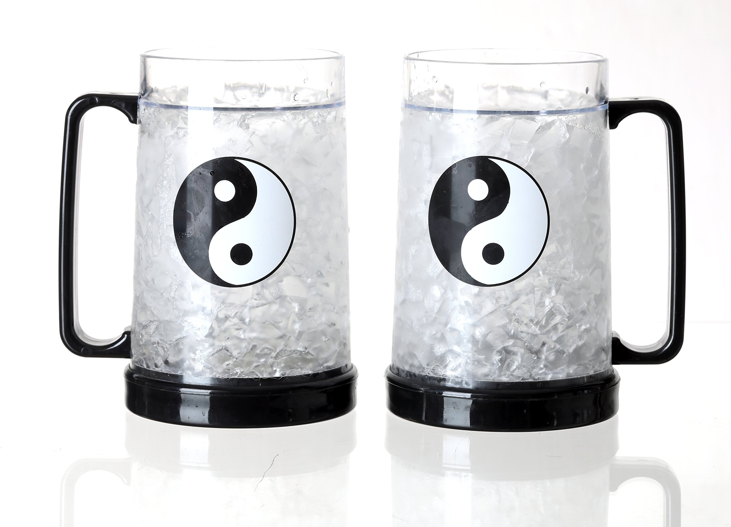 JF Mall Double Wall Gel Frosty Freezer Ice Mug Clear Ice 16oz Set of 2 (Yin and Yang)