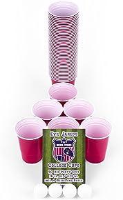 Evil Jared Hasselhoff EVIL JARED's Bicchieri per BEER PONG | Set da 50 bicchieri rossi + 4 palline da Beer Pong | Gioco alcolico per adulti | Festa