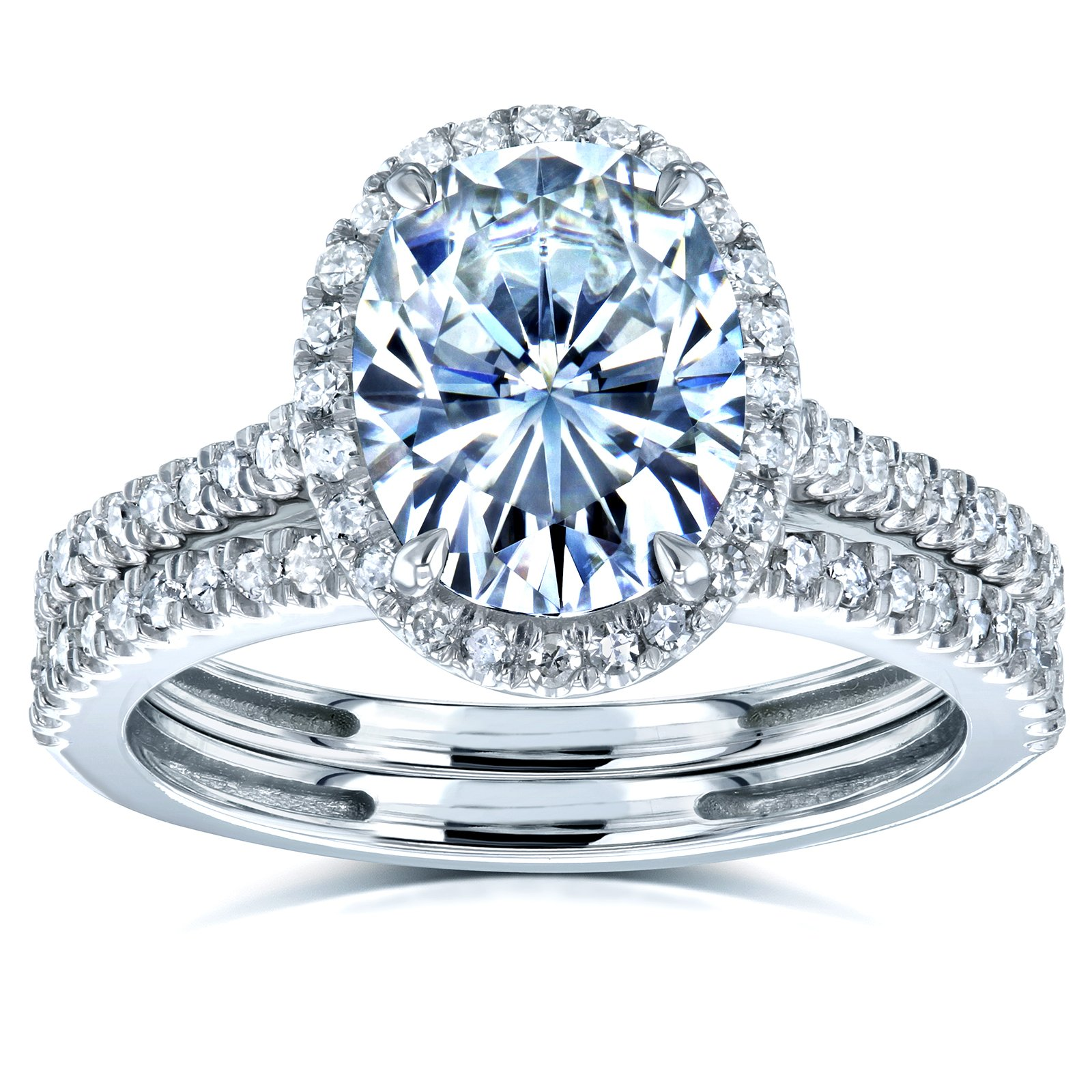 Oval Forever One Moissanite and Diamond Halo Bridal Rings Set 2 3/8 CTW 14k White Gold (DEF/VS, GH/I), 7.5