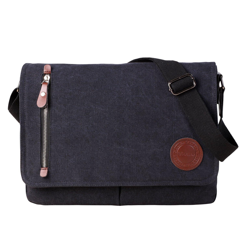 Vintage Canvas Satchel Messenger Bag for Men Women,Travel Shoulder bag 13.5'' Laptop Bags Bookbag (Black)