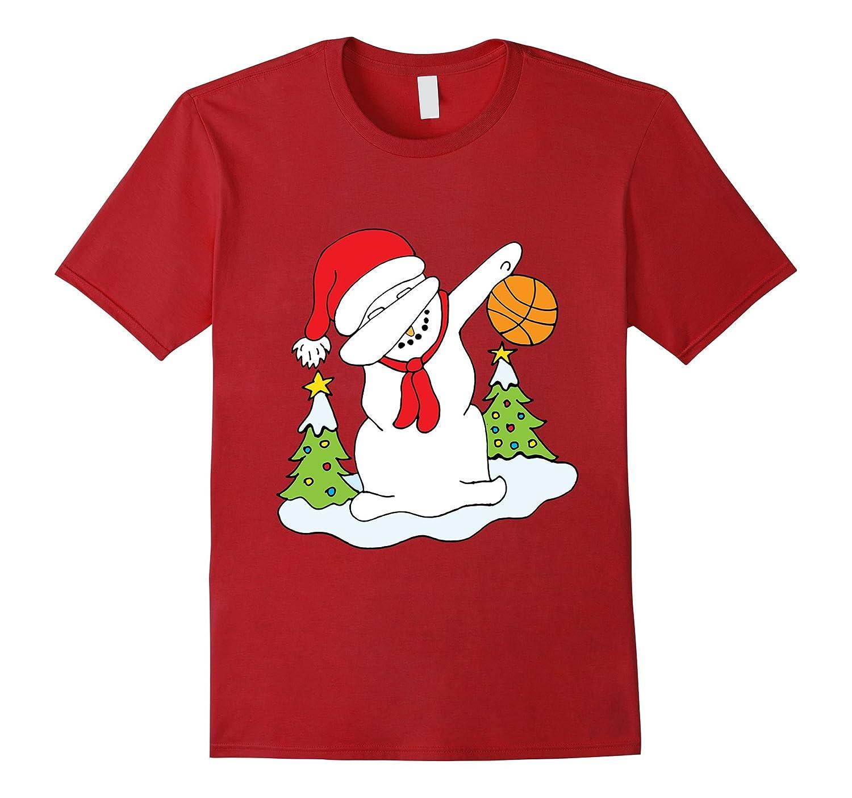 Snowman Dabbing Basketball Christmas Xmas T-Shirt-ANZ