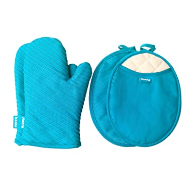 Honla Pot Holders and Oven Mitts/Gloves with Silicone Printed - 2 Hot Pads and 2 Potholders Set,4-Piece Heat Resistant Kitchen Linens Set for Cooking,Baking,Grilling,Barbecue,Teal