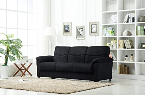 Amazon.com: roundhill Muebles 4431bk Urban tela sofá cama de ...