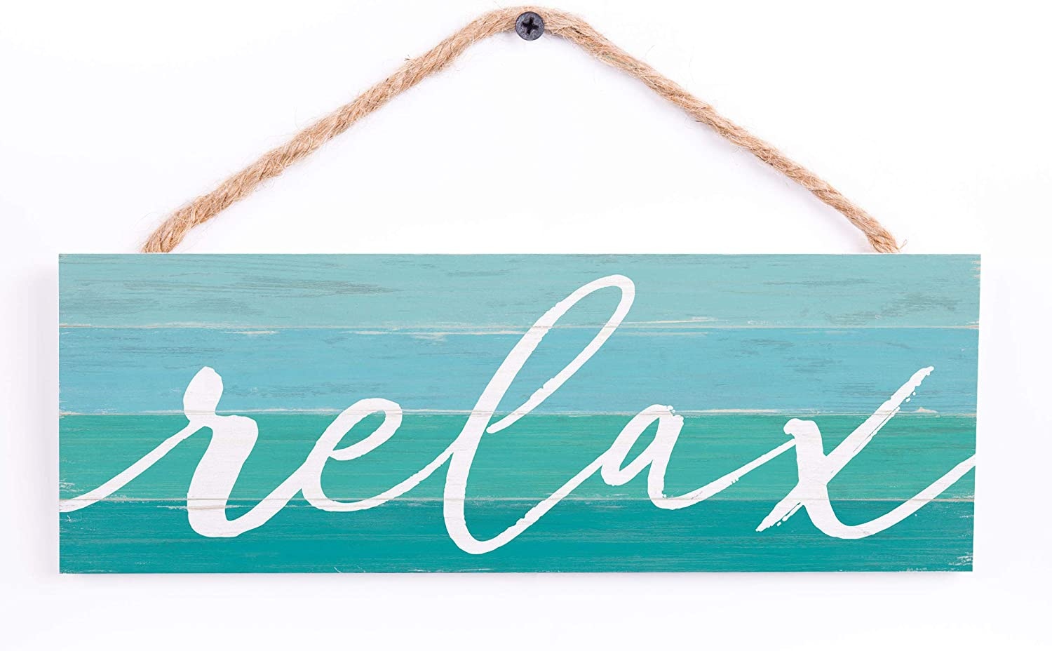 P. Graham Dunn Relax Ombre Stripe Nautical Blue 10 x 4 Pine Wood Hanging Décor String Sign