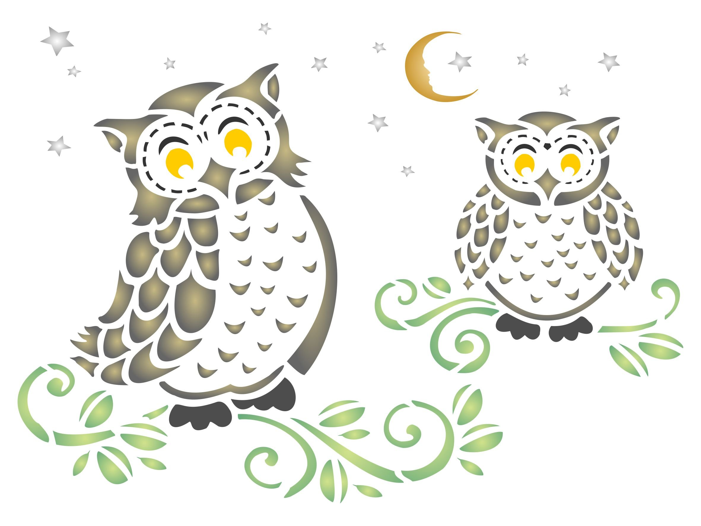 Owls Stencil - (size 9''w x 6.5''h) Reusable Wall Stencils for Painting - Best Quality Decor Ideas - Use on Walls, Floors, Fabrics, Glass, Wood, and More... by Stencils for Walls
