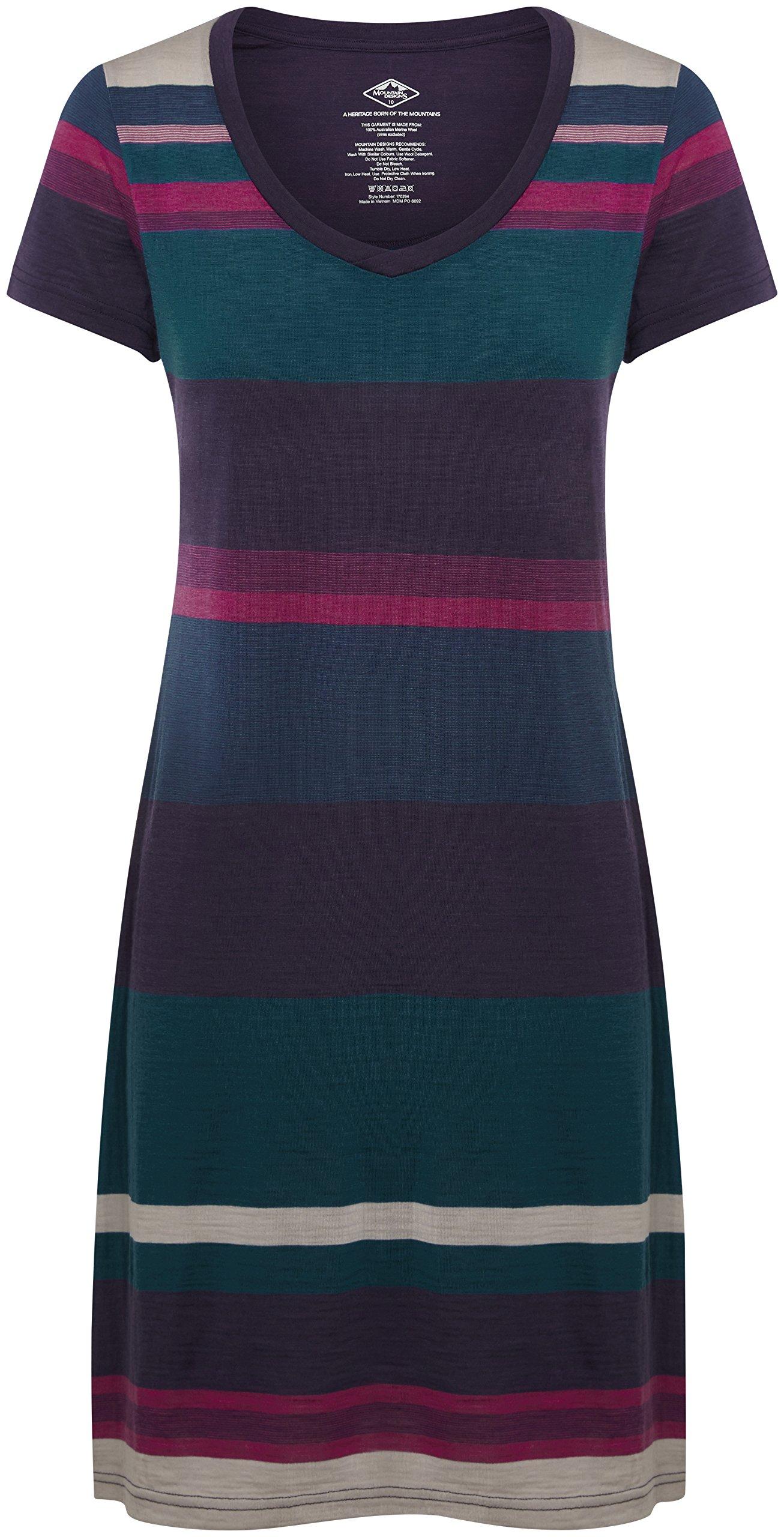 Mountain Designs Women's Pearl Merino Dress, Magenta Stripe, 12