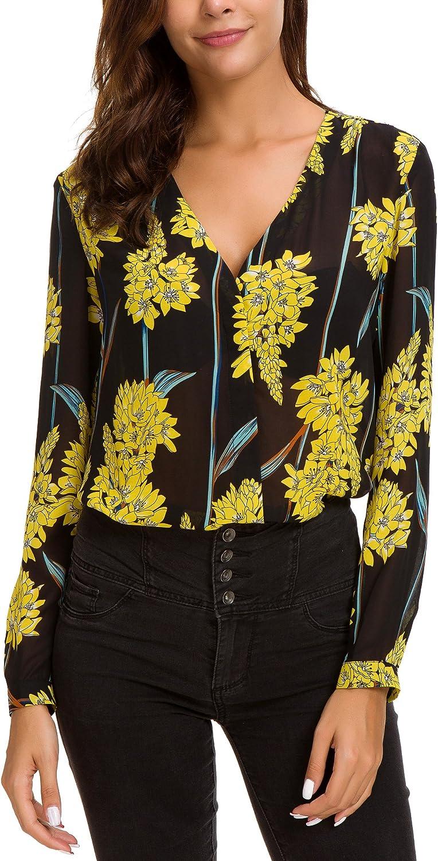 EXCHIC Donna Camicetta Stampata in Chiffon Elegante Collo a V Bluse Manica Lunga