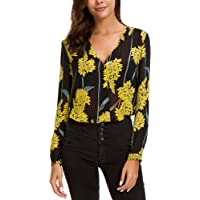 EXCHIC Women's Casual Blouse Top V-Neck Chiffon Floral Printed Shirts