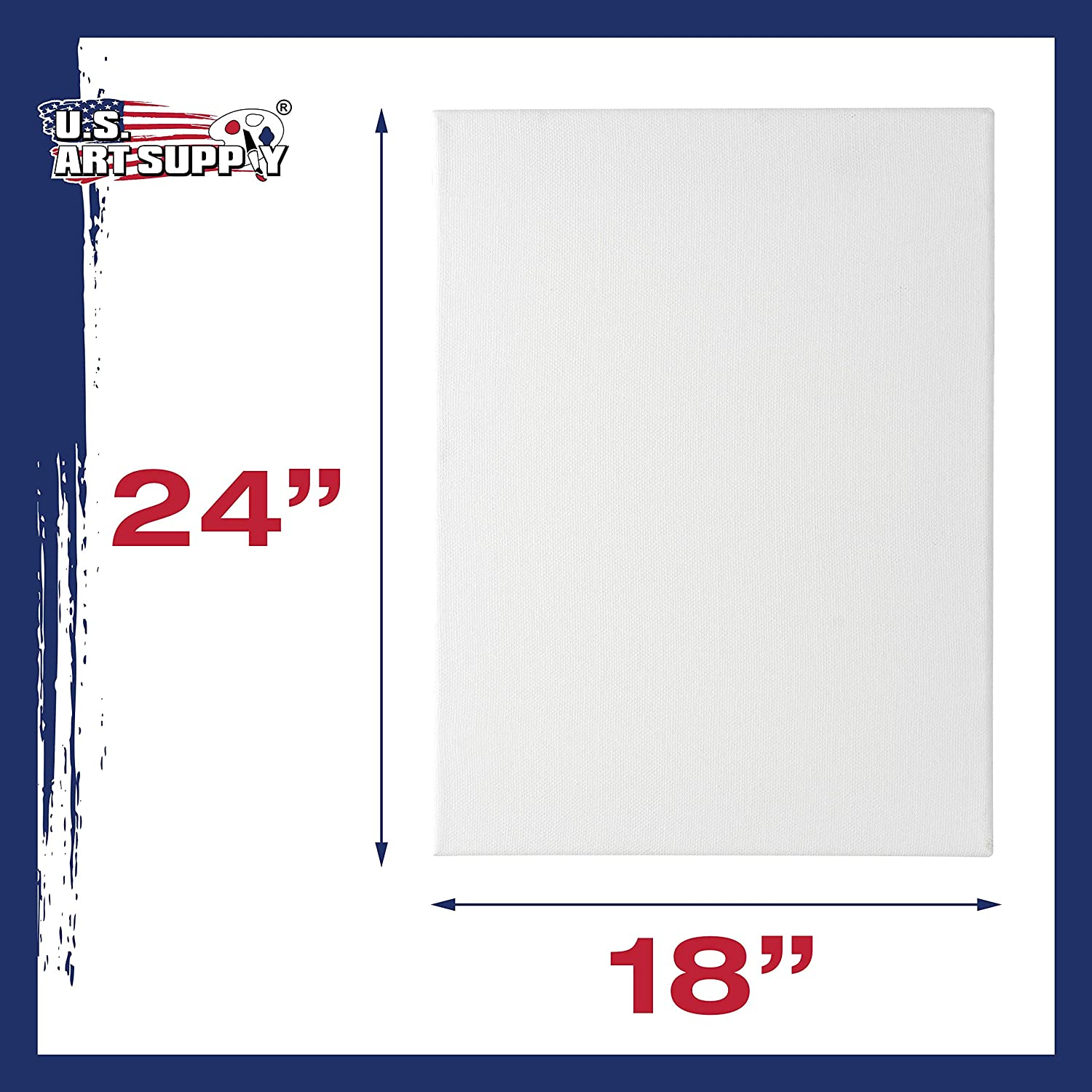 US Art Supply 18 x 24 inch Professional Quality Acid Free Stretched Canvas 18-Pack 3//4 Profile 12 Ounce Primed Gesso 1 Full Case of 18 Single Canvases
