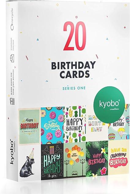 Kyobo Creations 20 Cartes De Joyeux Anniversaire 10 Modeles De Carte Anniversaire Pour Homme Et Femme Lot De Cartes De Voeux Blanches A L Interieur Avec Enveloppes Et Autocollants Amazon Fr Fournitures