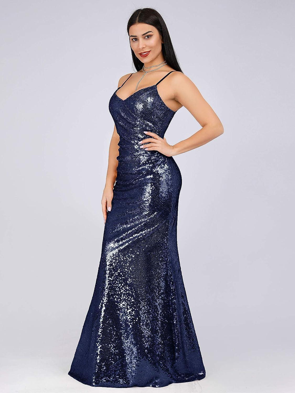 Ever-Pretty Vestito da Cocktail Sera Lungo Donna con Paillettes Scollo a V Bretelle Regolabile 07339