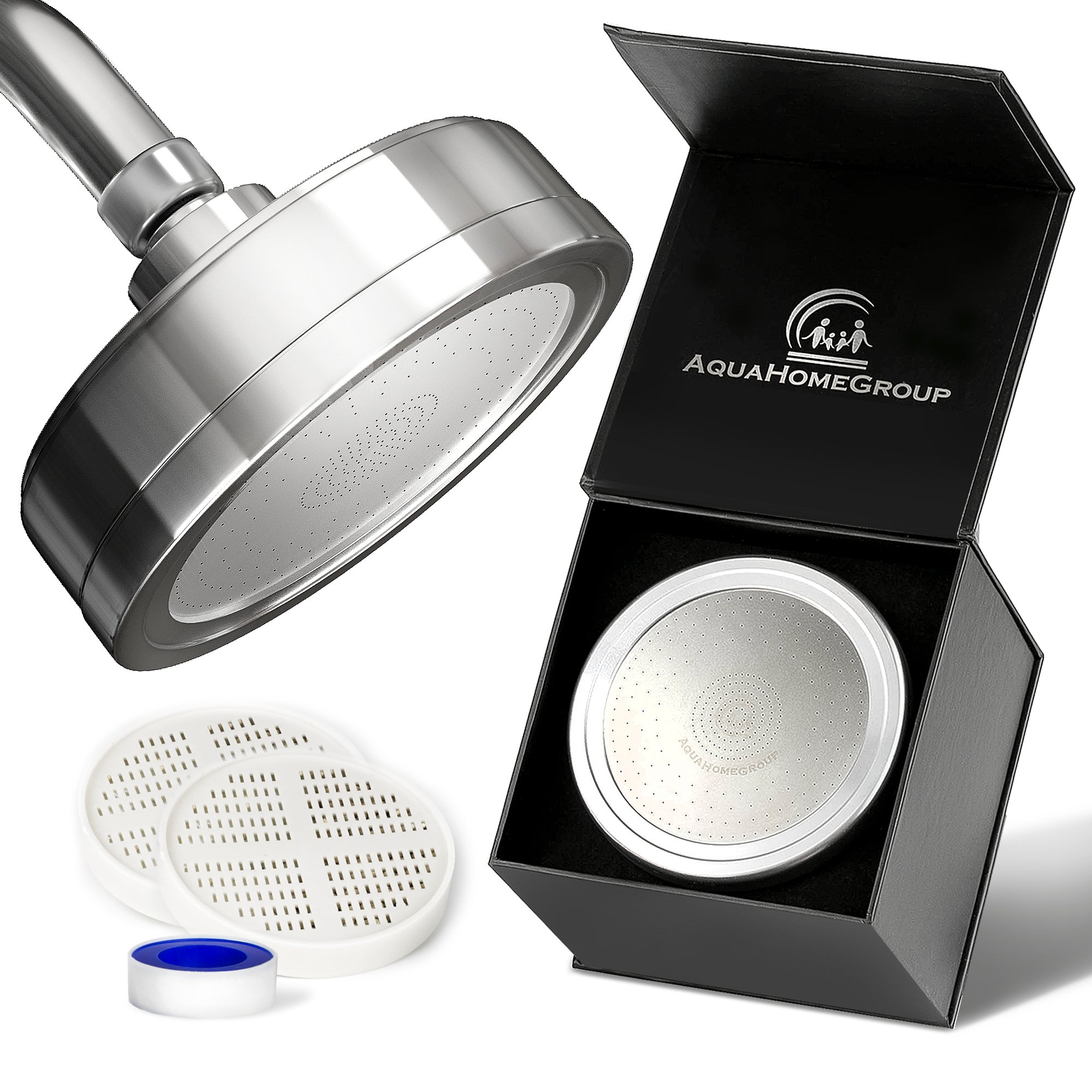 Luxury Filtered Shower Head (Metal) 2 Cartridges Vitamin C + 5 Shower Caps - Helps Dry Skin & Hair Loss - Removes Chlorine & Sediments - Consistent Water Pressure - Massage and SPA Effect