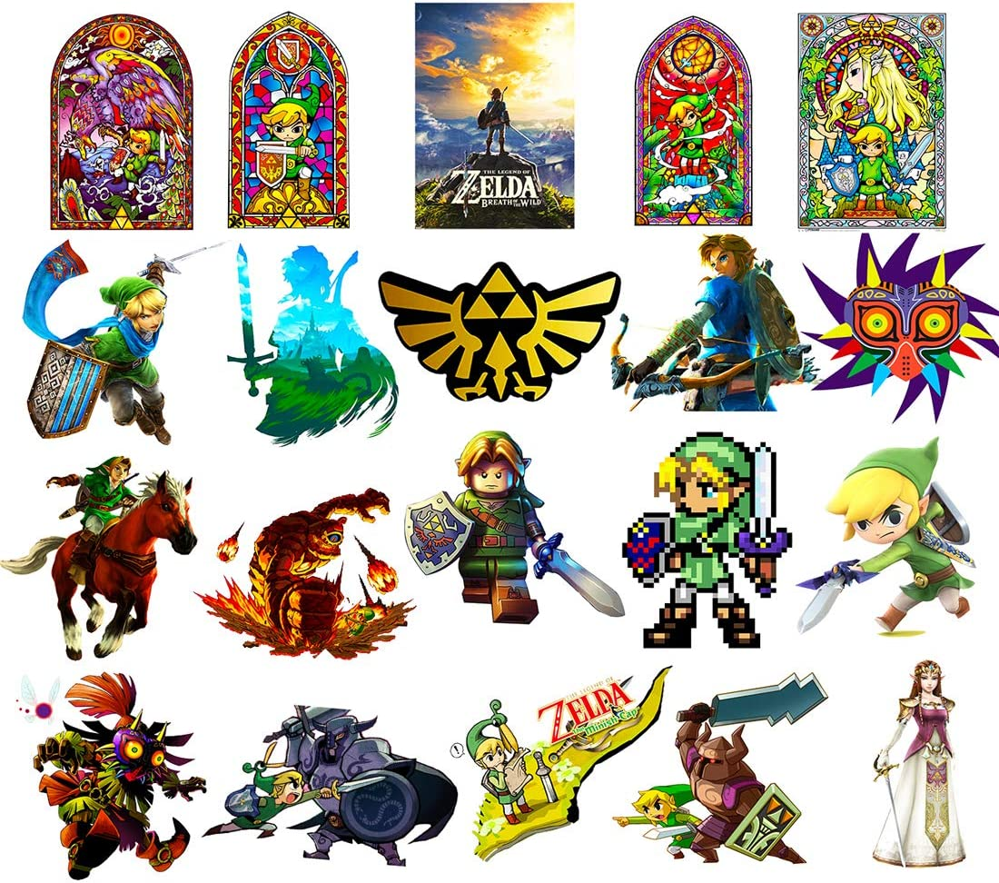 GTOTd Stickers for Legend of Zelda [Large Size:3.5-4.0inch 20 pcs], Vinyl Sticker for Laptop Water Bottle Bike Car Motorcycle Bumper Luggage Skateboard Graffiti, Cool Link Decals, Best Gift for Teen