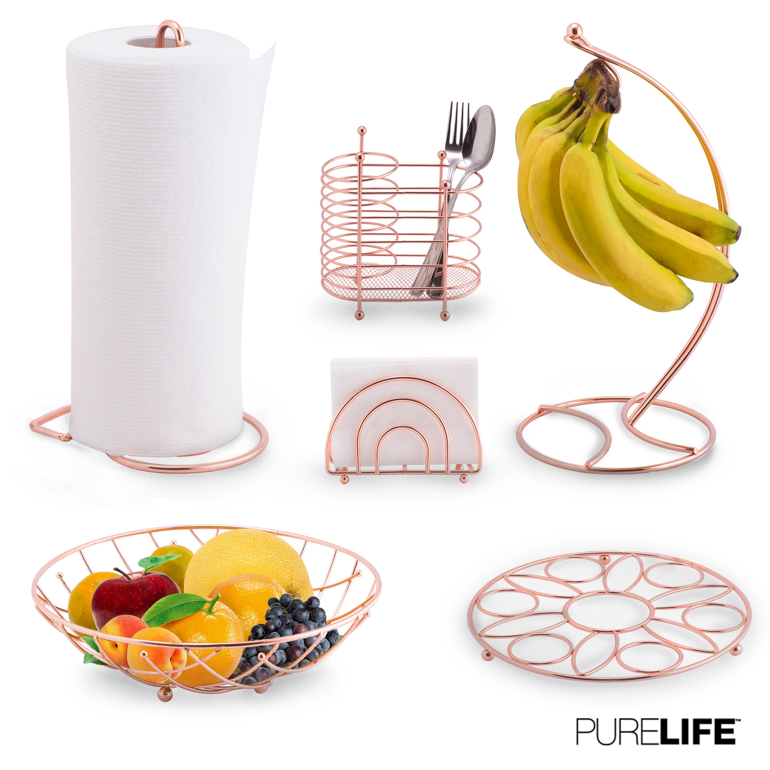 Kitchen Set 6pc | Fruit Basket, Banana Holder, Utensil Holder, Napkin Holder, Trivet & Paper Towel Holder - Double Coated Copper Finish Collection for Countertop Table Decor | Heat Resistant Tool by purelife